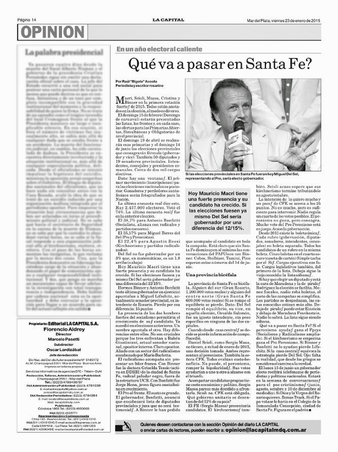 Qué va a pasar en Santa Fe por Bigote Acosta