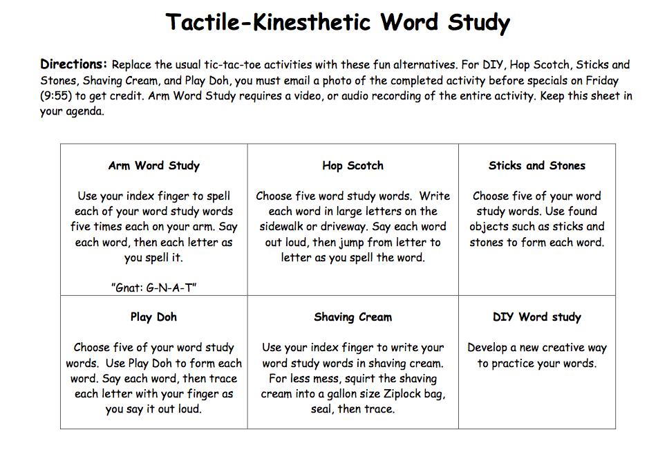 3rd grade: Tactile-Kinesthetic Word Study