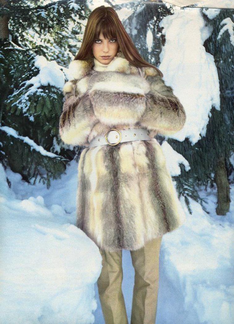Jane Birkin in fur snow bunny