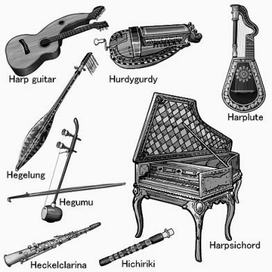 World musical instruments.Grayscale illustration.