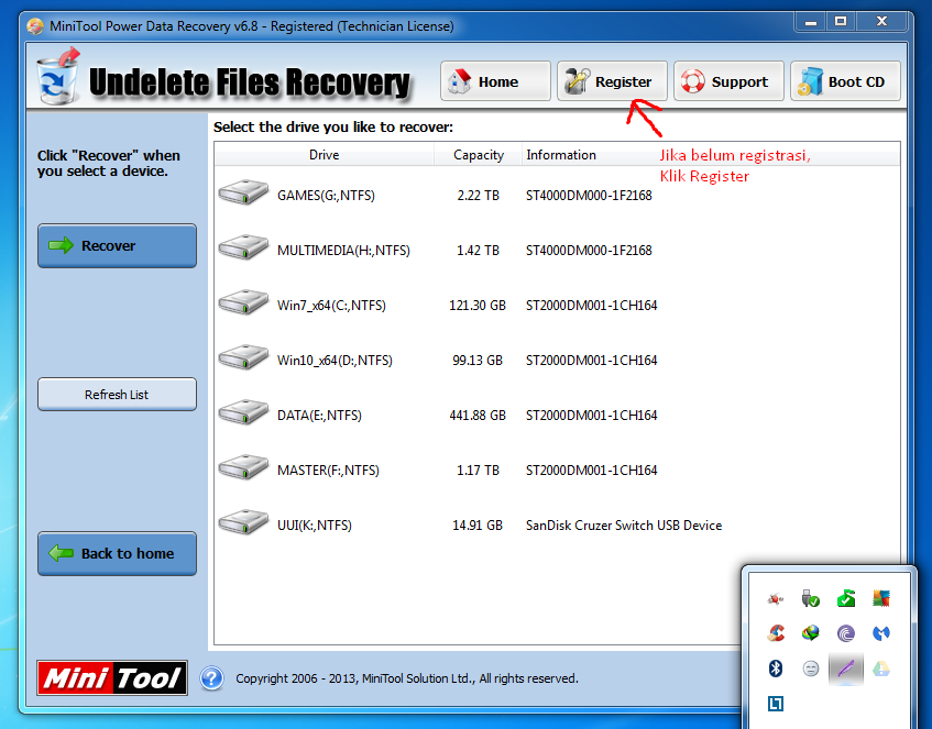 Registrasi MiniTool Power Data Recovery 6.8