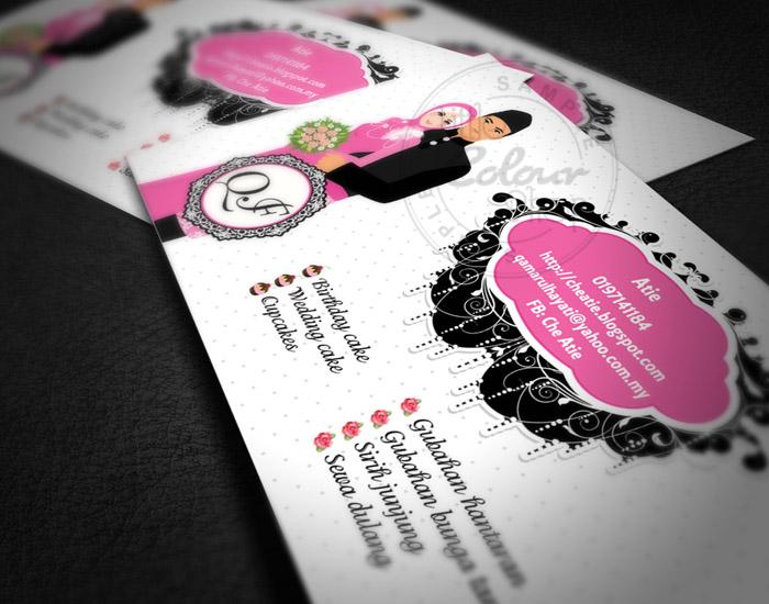 che atie untuk bisnes kad dua design berbeza untuk 2 jenis perniagaan