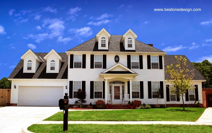 Casa residencial americana de dos plantas de amplia superficie