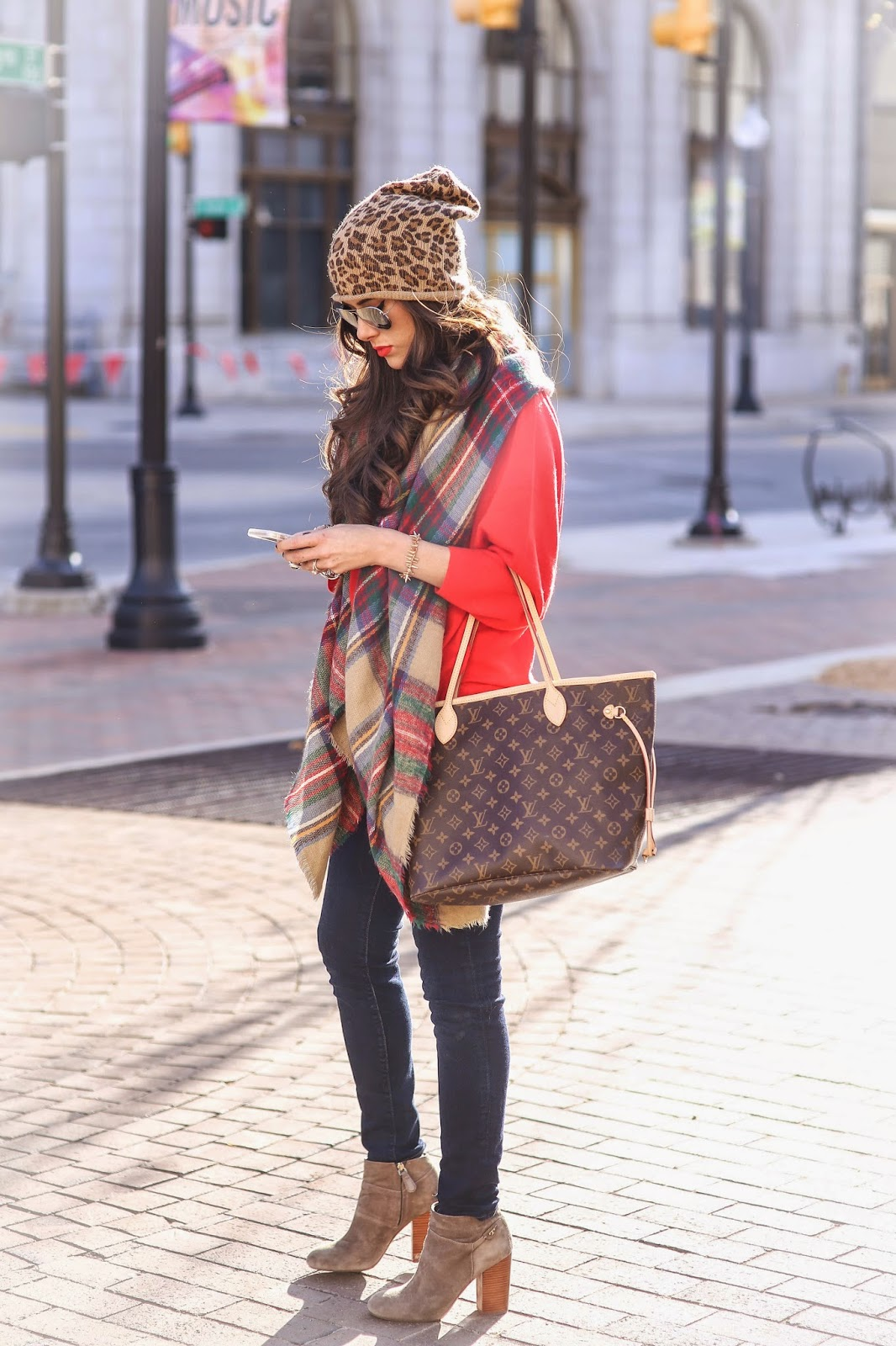 leopard print beanie, tulsa ok fashion blog, fall outfit ideas pinterest, blanket scarf outfit ideas, how to style a blanket scarf, pinterest fall ootd, booties with scarf outfit, emily gemma, red sweater with blanket scarf