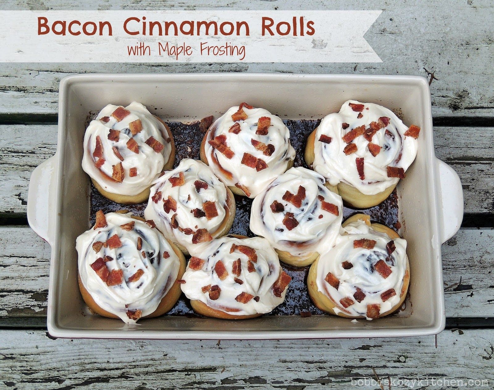 Bacon Cinnamon Rolls with Maple Frosting for #SundaySupper