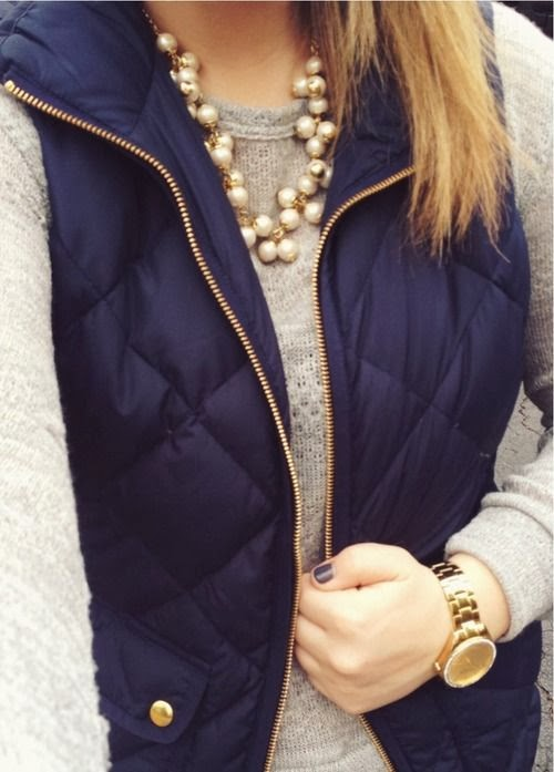J.Crew Fulfy Navy Vest With Plain Sweater