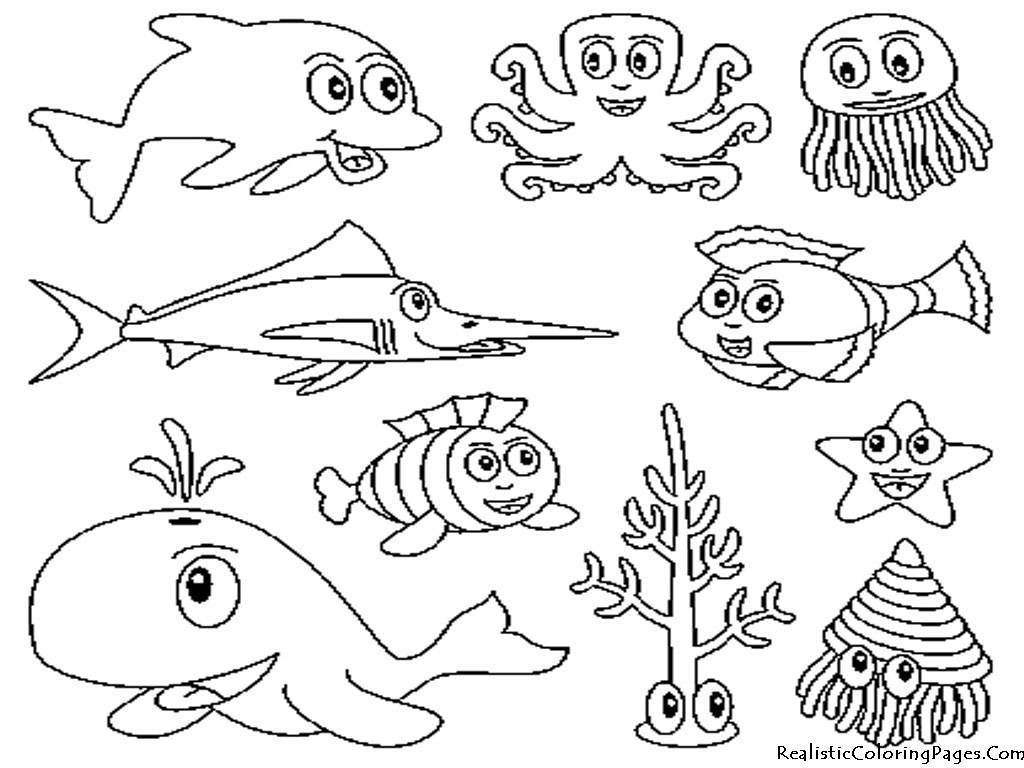 Ocean Animals Coloring Pages Realistic