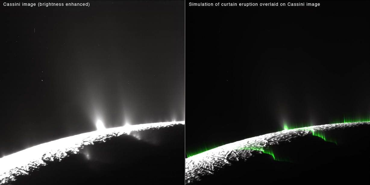 Researchers think an optical illusion is responsible for most -- but not all -- of what appear to be individual jets on Saturn's moon Enceladus. Some discrete jets are still required to explain Cassini's observations. Credits: NASA/JPL-Caltech/SSI/PSI