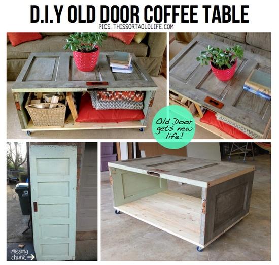 El mundo del reciclaje diy recicla una puerta y hazte una for Mesas con puertas