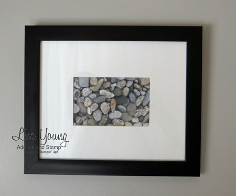 Stampin' Up! Adventure Bound paper matted and framed with a black frame. Scrapbook paper that looks like real rocks, framed and hung on bathroom wall.