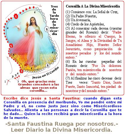 jesus con la coronilla a la divina misericordia