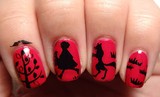 Red Riding Hood Stamped Nails