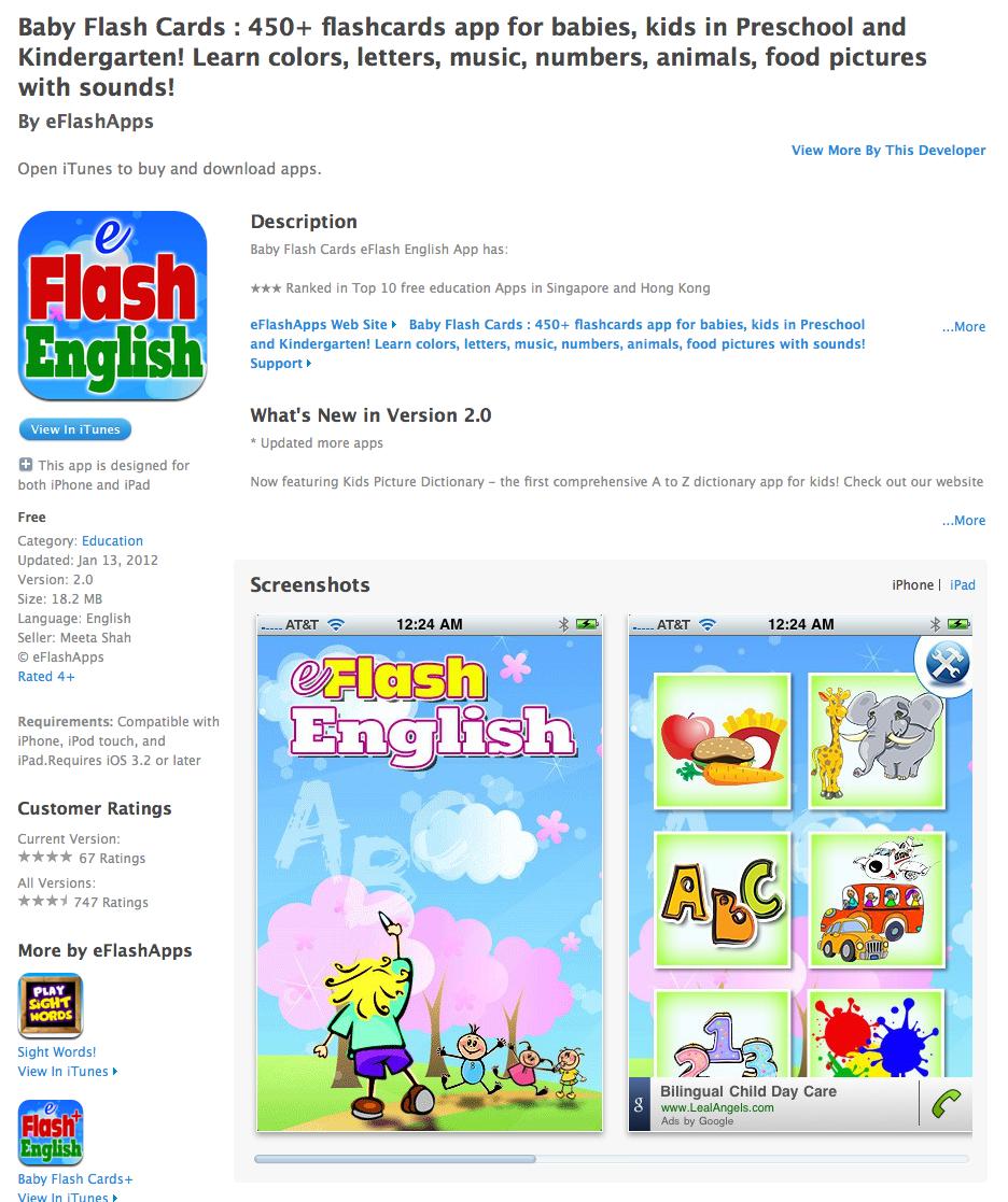 TeacherLINK Blog!: Free App Today - Baby Flash Cards : 450 ...