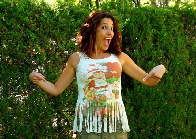 Camiseta tarda fresa flecos