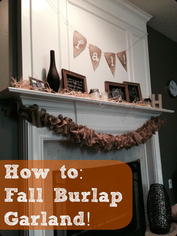 Fall fireplace, fall decor, burlap garland, burlap bunting, burlap banner, chalkboard frame