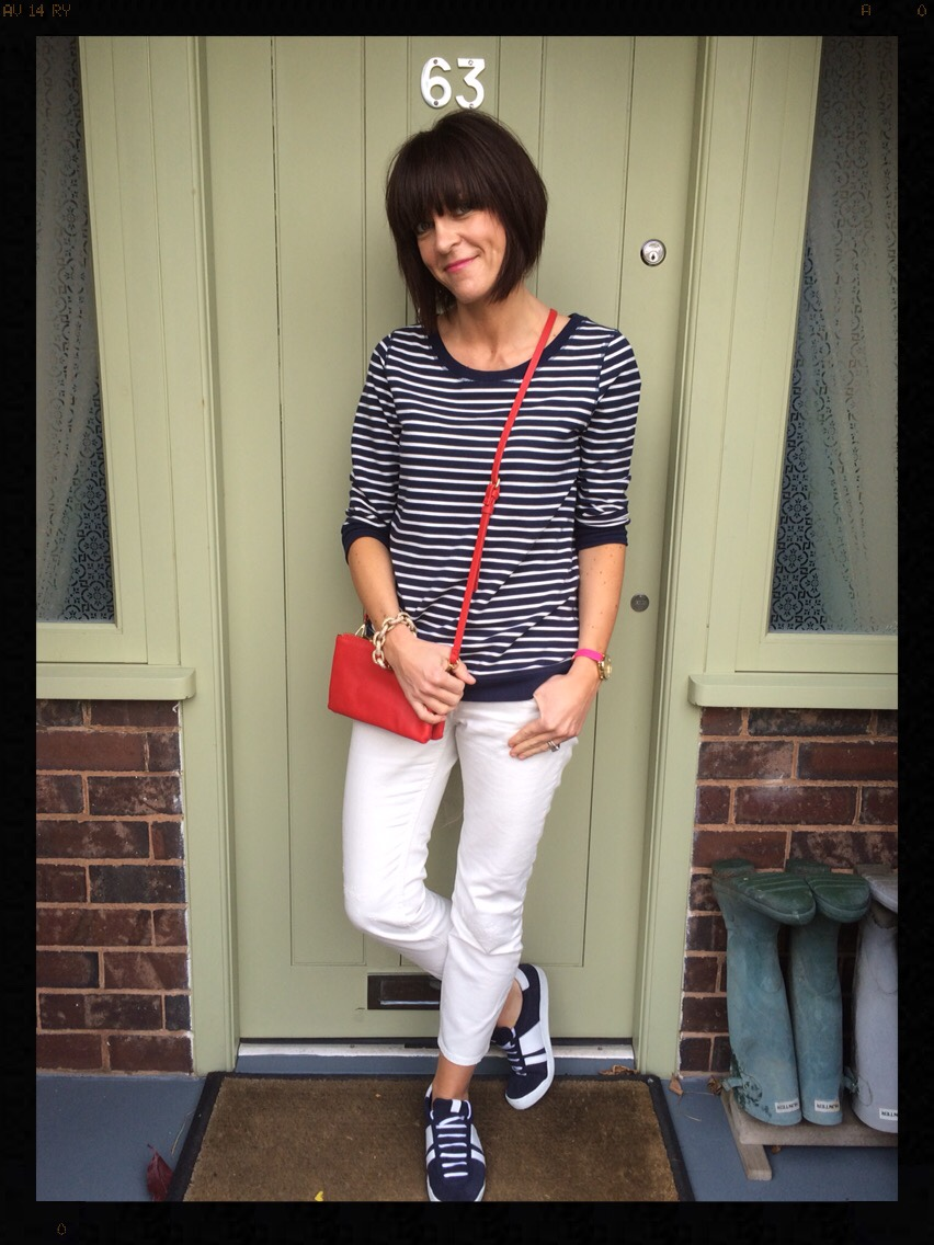 My Midlife Fashion, White Jeans, Breton, Stripes, Boden, Zara, Mango, Trainers