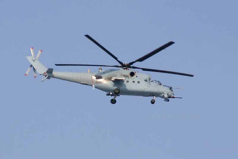 The mil mi-35m gunship and attack helicopter undergoes testing after