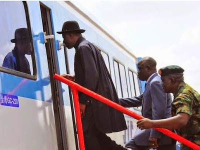 Photos: Jonathan Inspects The Abuja Rail Mass Transit Line