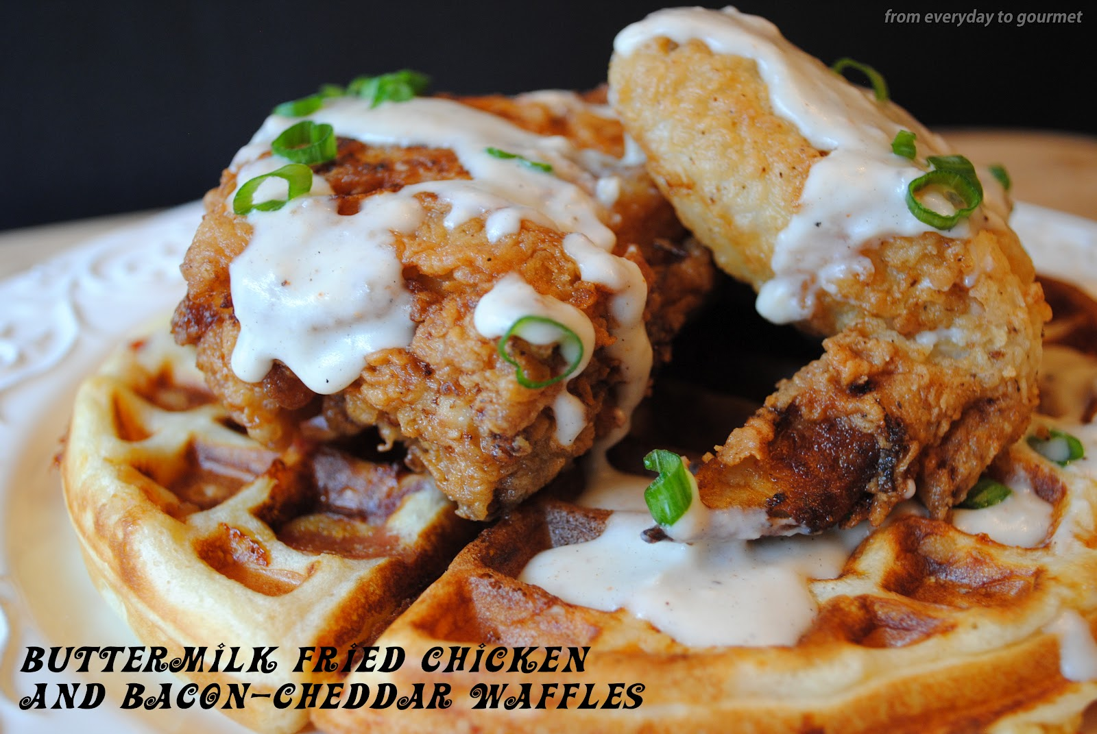 Buttermilk Fried Chicken with Bacon-Cheddar Waffles {Crazy Cooking ...