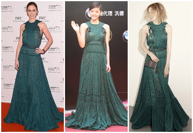 2015 Golden Melody Awards Nana Ou-Yang in Lanvin Resort 2015 Rich Emerald-Green Lace Gown 3 Looks