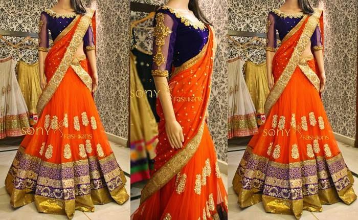 Orange Net Half Saree
