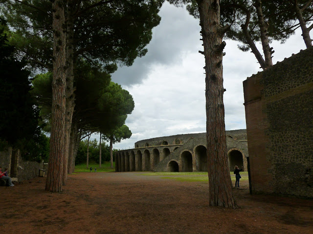 Pompeii coliseum / amphitheatre viewed through two tall trees