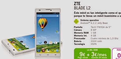 ZTE Blade L2 con YOIGO: precios y características