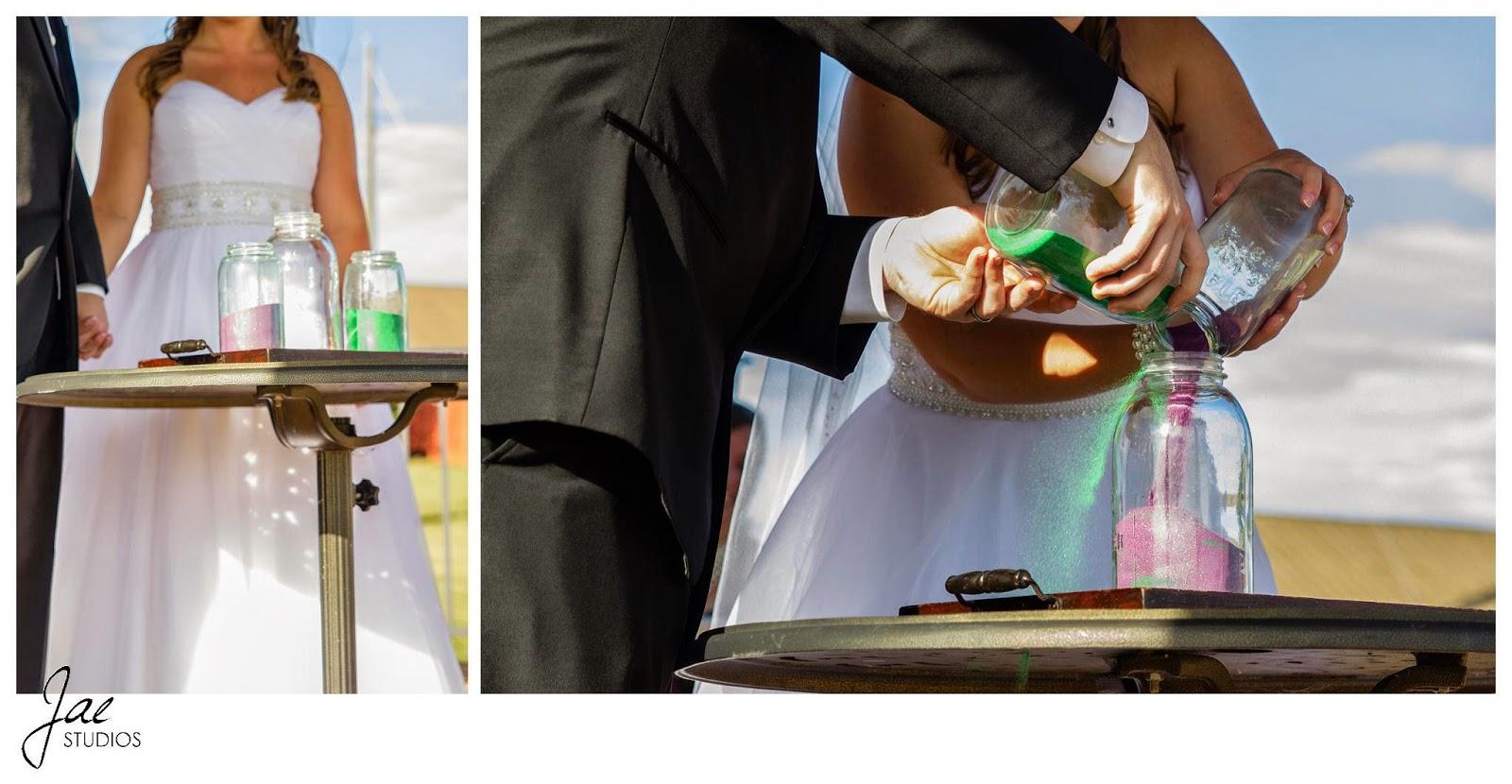 Jonathan and Julie, Bird cage, West Manor Estate, Wedding, Lynchburg, Virginia, Jae Studios, sand, green, pink, mason jars, wedding dress, tuxedo, pouring, unity, ceremony