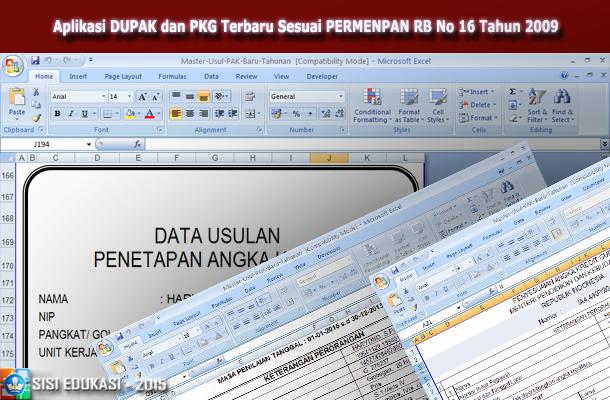 Aplikasi DUPAK dan PKG Terbaru dengan Microsoft Excel Sesuai PERMENPAN RB No 16 Tahun 2009
