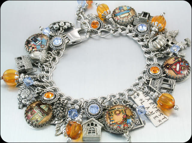 Autumn charm bracelet, fall charm bracelet, pumpkins charms, harvest bracelet