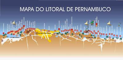 Mapa do Litoral de Pernambuco