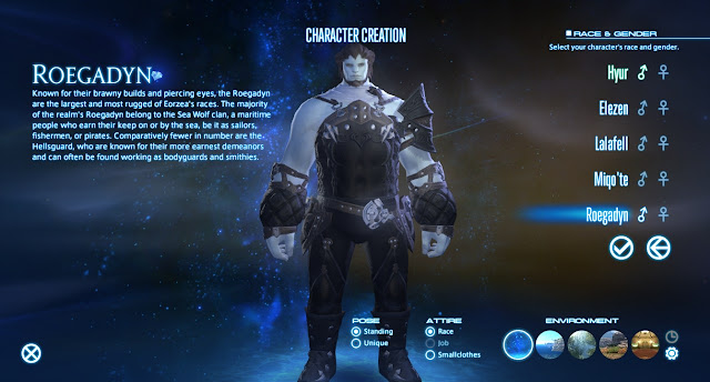 Final Fantasy XIV character creation race selection screen