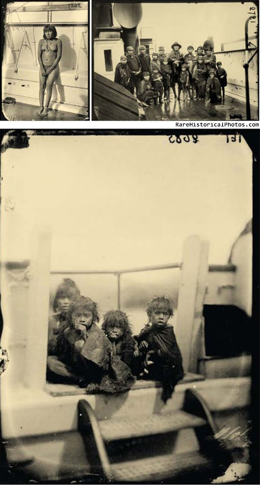 Selknam natives en route to Europe for being exhibited as animals in Human Zoos, 1899.