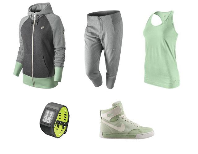 Collage de ropa para ir al gimnasio de Nike en color verde menta y gris.