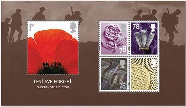 miniature sheet of stamps with poppy stamp