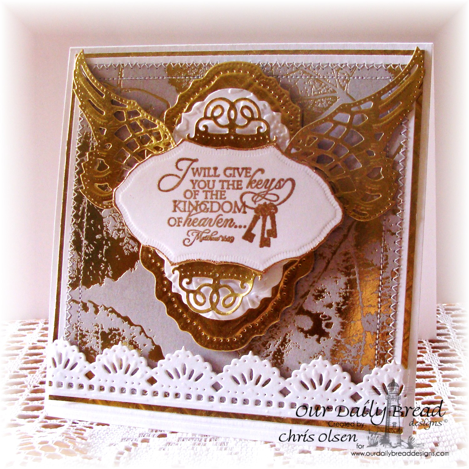 Stamps - Our Daily Bread Designs Key to Heaven, ODBD Custom Beautiful Borders Dies, ODBD Custom Angel Wings Dies, ODBD Custom Vintage Flourish Pattern Die, ODBD Custom Vintage Labels Die, ODBD Custom Angel Wings Die