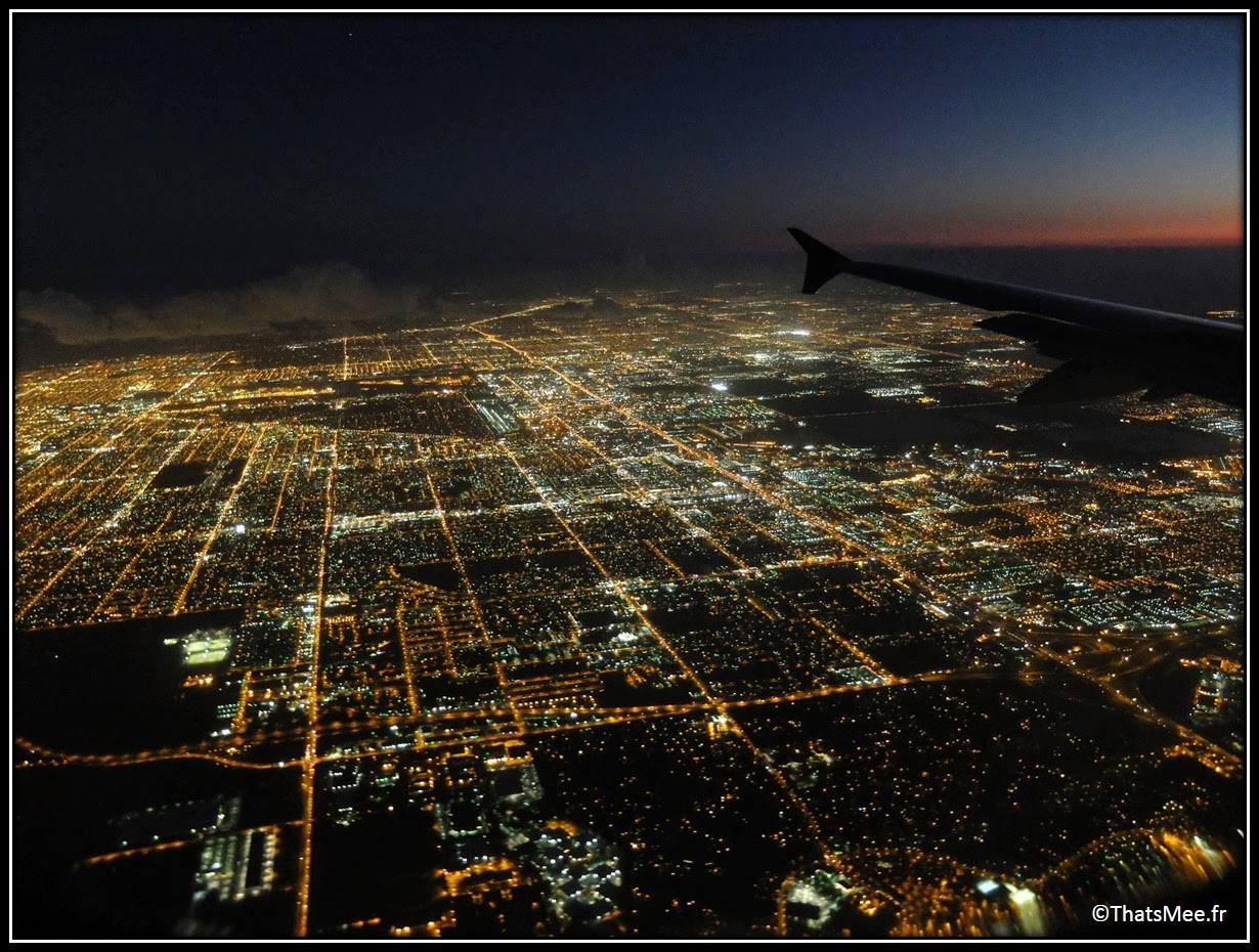 Miami by night from the sky vue du ciel American Airlines lights city