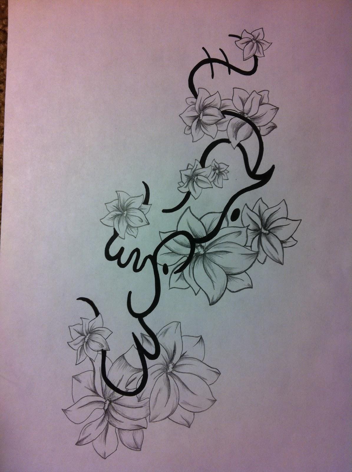 Art of ink alibata simpaguita flower tattoo design for for Sister in law tattoos