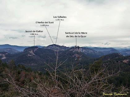 """Panoràmica cap al nord-est des de la pista del Serrat de les Tombes. Autor: Francesc """"Caminaire"""""""