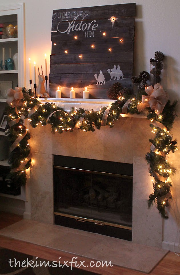 With a gold & smokey blue color scheme, this mantel garland coordinates nicely with the