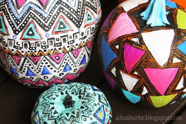 http://alisaburke.blogspot.ca/2012/09/geometric-painted-pumpkins.html