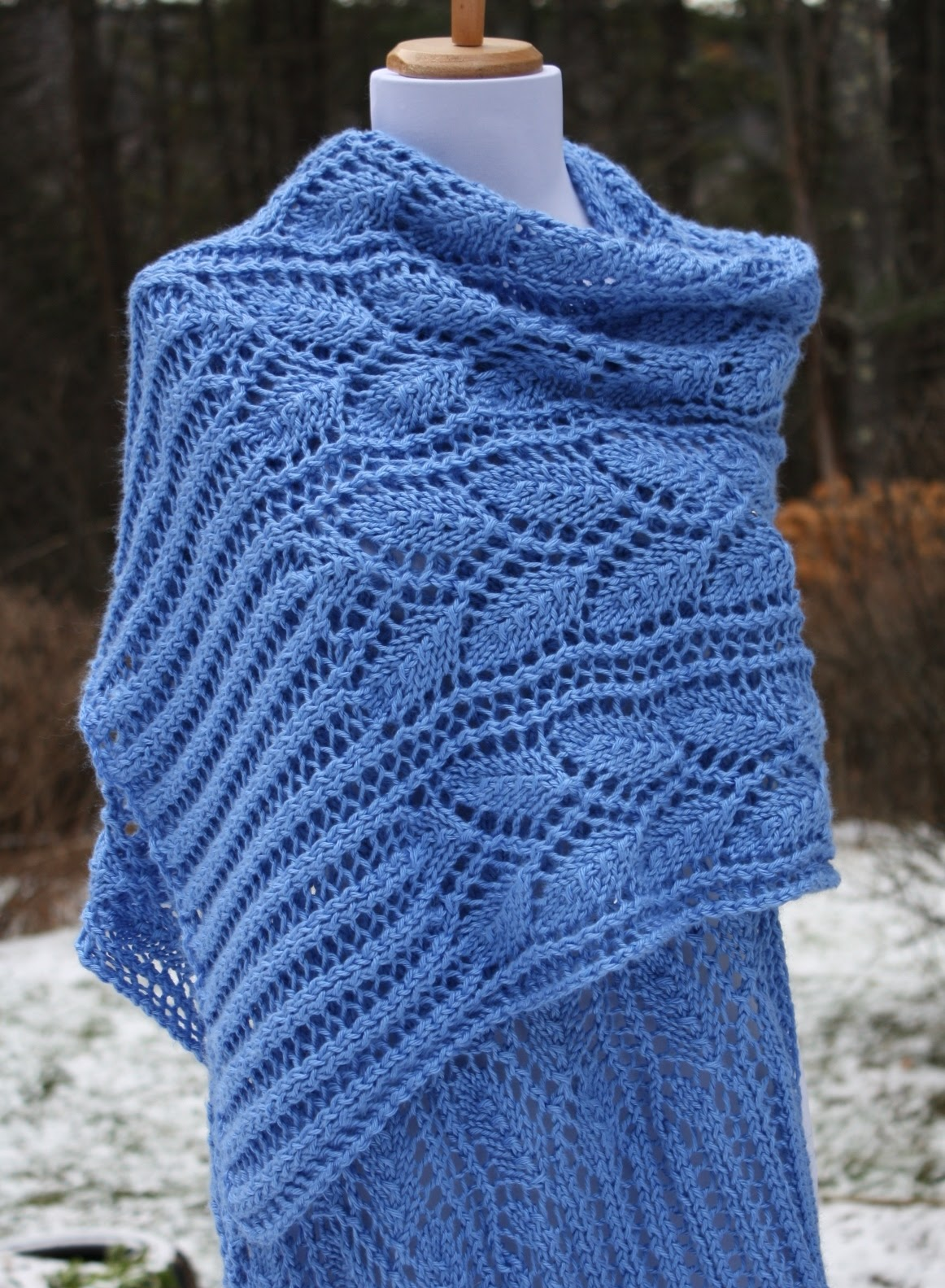 Knitted Prayer Shawl Patterns : All Knitted Lace: New Pattern: Leafy Branches Wrap