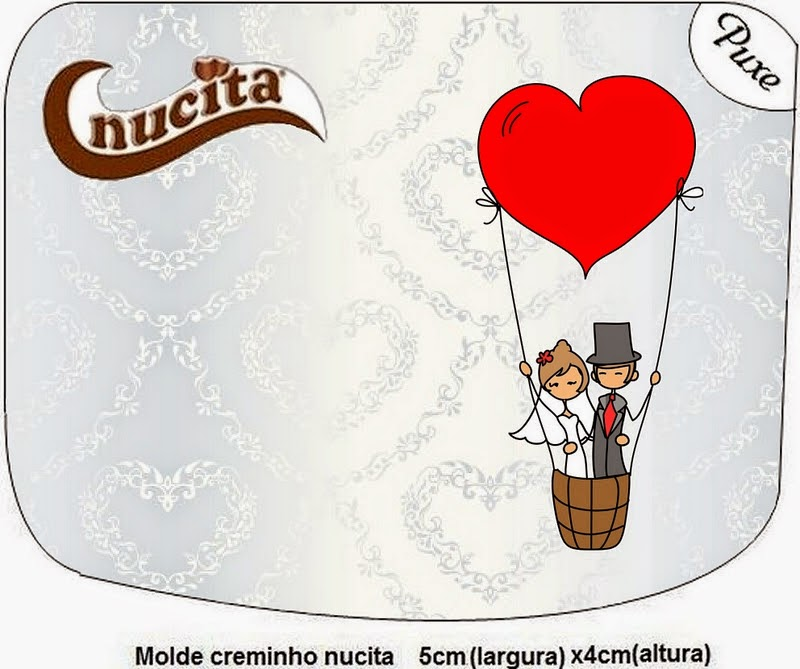 Etiquetas Nucita de Pareja de Novios Volando para imprimir gratis.