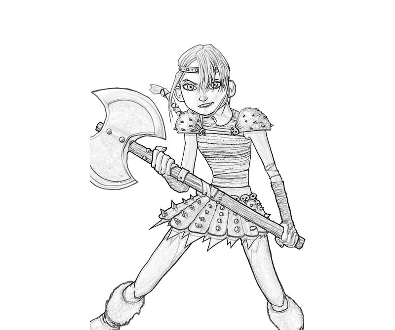 Train Your Dragon Astrid Hofferson Axe Coloring Pages title=