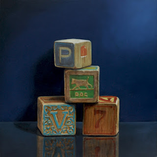 still life oil painting of four children's toy blocks