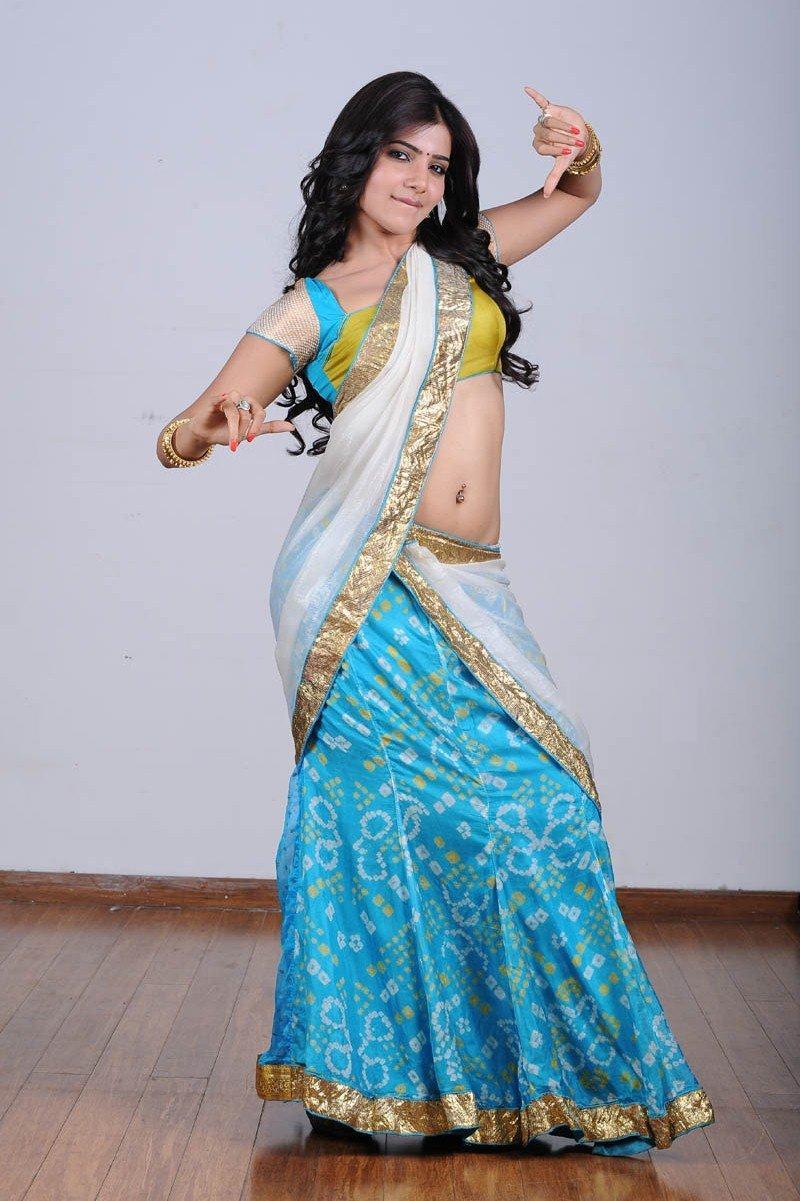 hot sexy rosy wonderful Samantha sexy in transparent half saree magazine