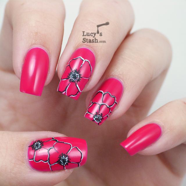 Lucy's Stash - Poppies nail art