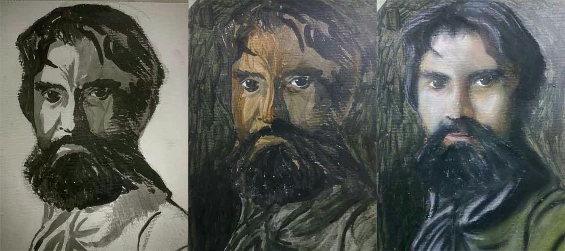 tres pasos de un retrato con pastel sobre acrilico