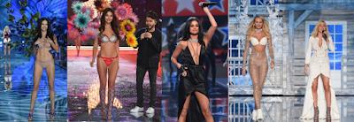 Adriana Lima, performance de Yhe Weeknd, Selena Gomez e performance de Ellie Goulding ao lado de Candice Swanepoel - Divulgação