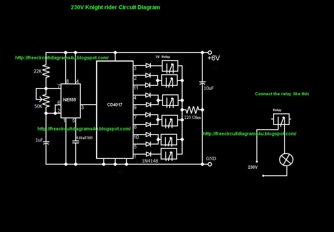circuit diagrams 4u 230v knight rider circuit diagram i must say that you can convert common circuit diagram in to 110v or 230v by using a relay here we have do a small modification for the common circuit